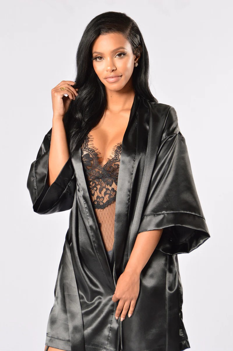 Lingerie For Women   Shop Affordable Sexy Women s Lingerie Lotus Robe   Black