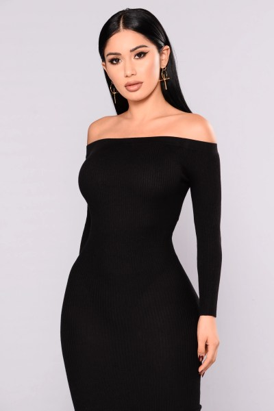 Wait For It Knit Dress   Black