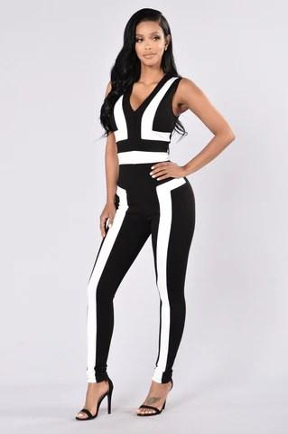 Libation Jumpsuit - Black/White