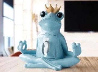 Yoga Frog Tissue Holder : Luxury home decor-statue/sculpture gift