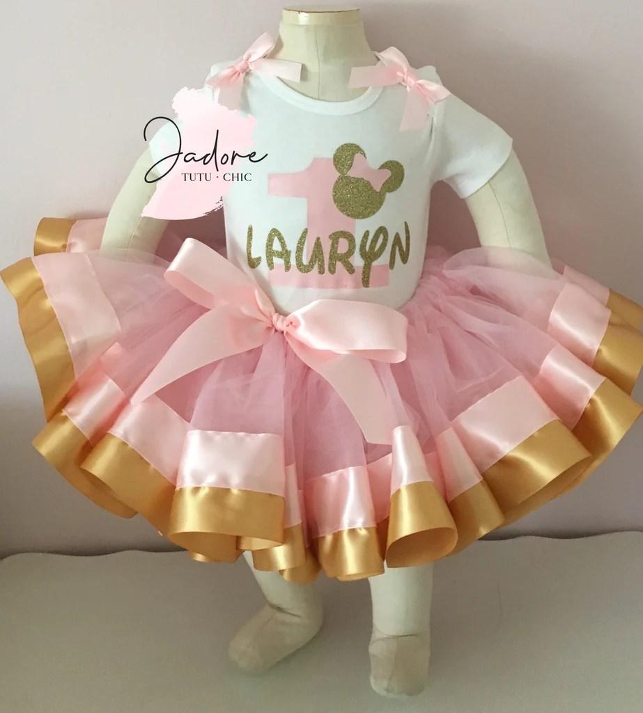 Pink Gold Minnie Mouse Birthday Tutu Outfit Jadoretutuchic