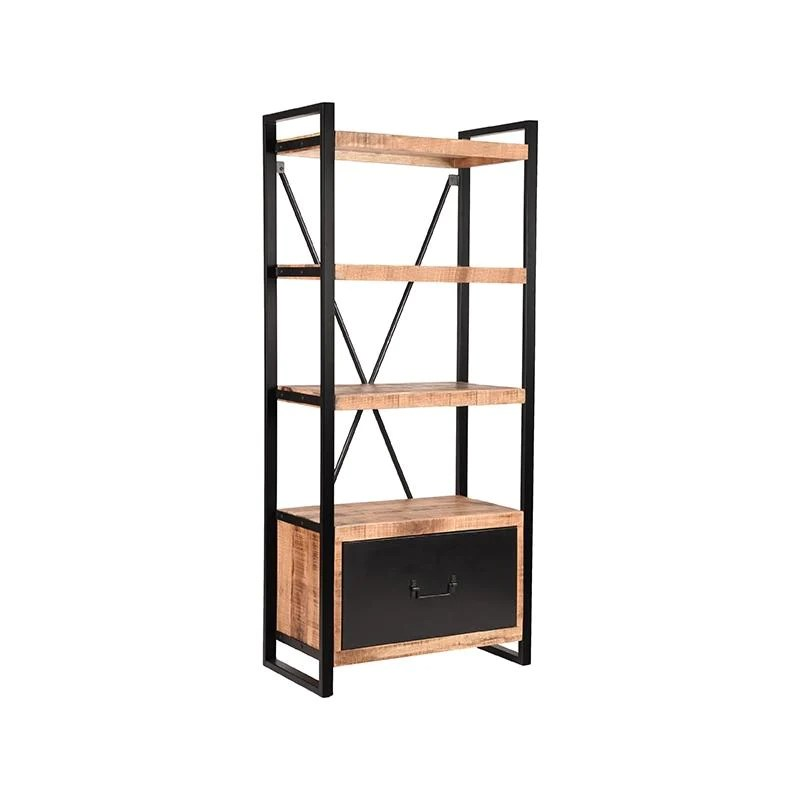 etagere industrielle avec casier en bois et en metal belgica
