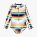 One-piece rash guard in rainbow stripe