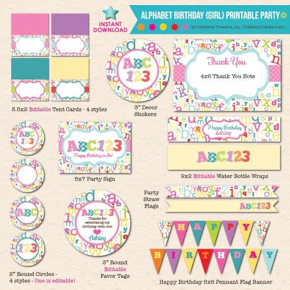 ABC123 Girls Alphabet Birthday DIY Printable Party Pack