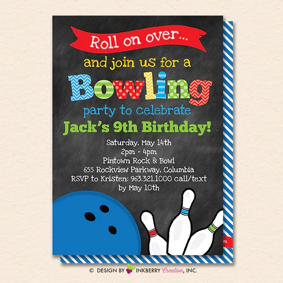 bowling birthday party invitation printable instant download editable pdf