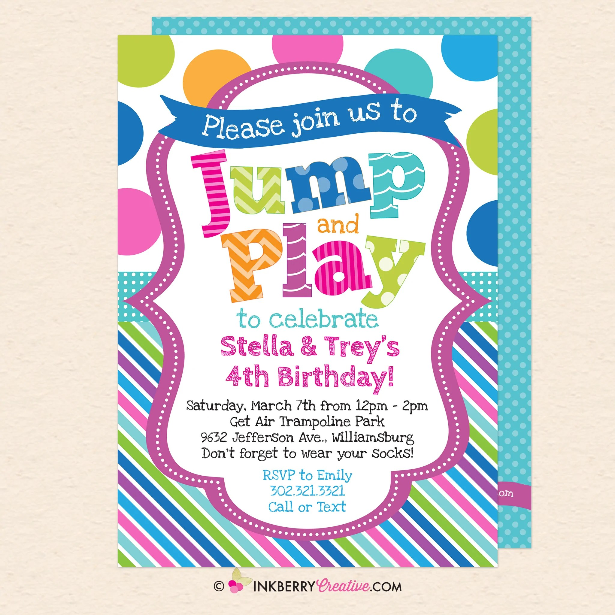 Jump And Play Kids Bounce Or Trampoline Birthday Party Invitation Blu Inkberry Creative Inc