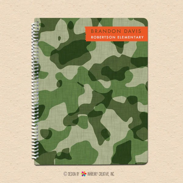 Cool Camo Personalized Notebook Inkberry Creative Inc