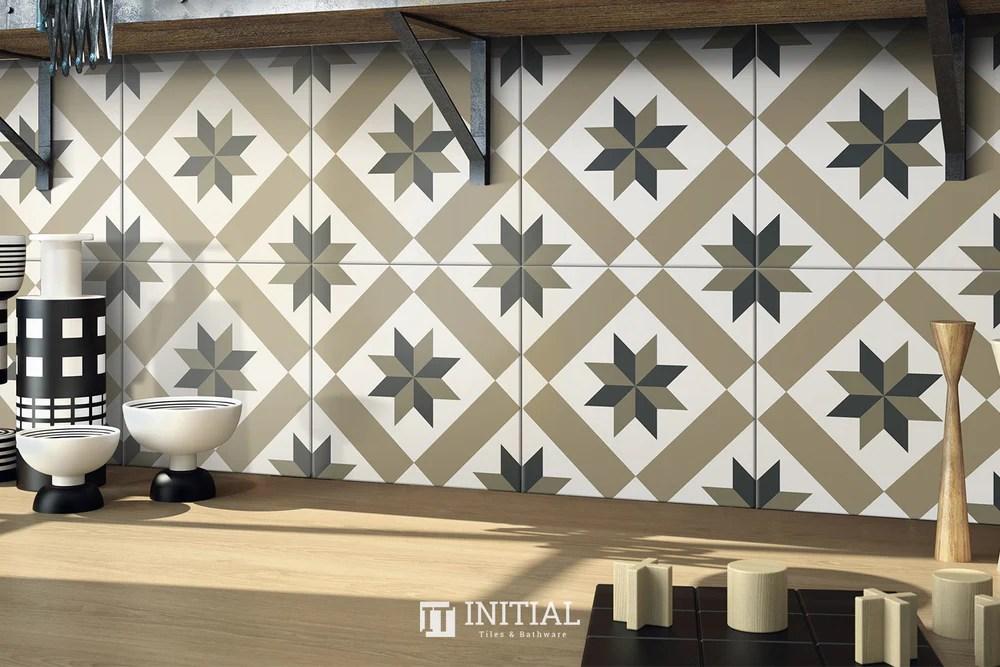 encaustic pattern tile pierre lucky star matt 200x200