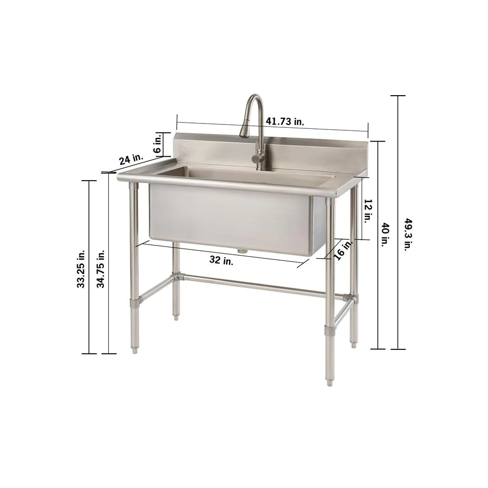 41 7 in x 24 in x 49 2 in stainless steel utility sink with pull out faucet