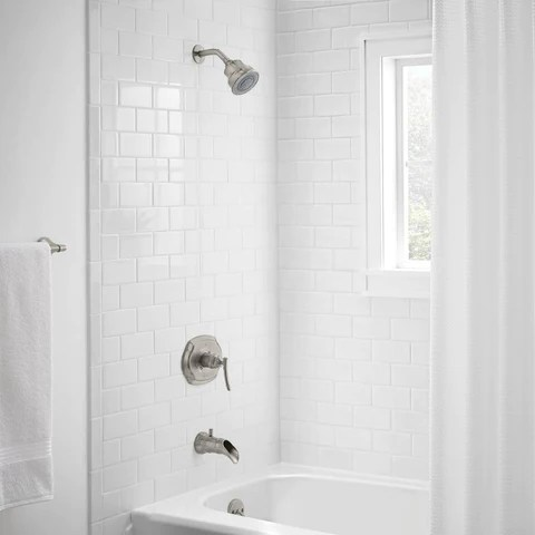 bamboo single handle 3 spray tub and shower faucet in brushed nickel