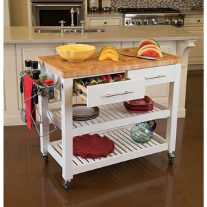 white professional chef s kitchen cart wooden shelves butcher block top jet7750