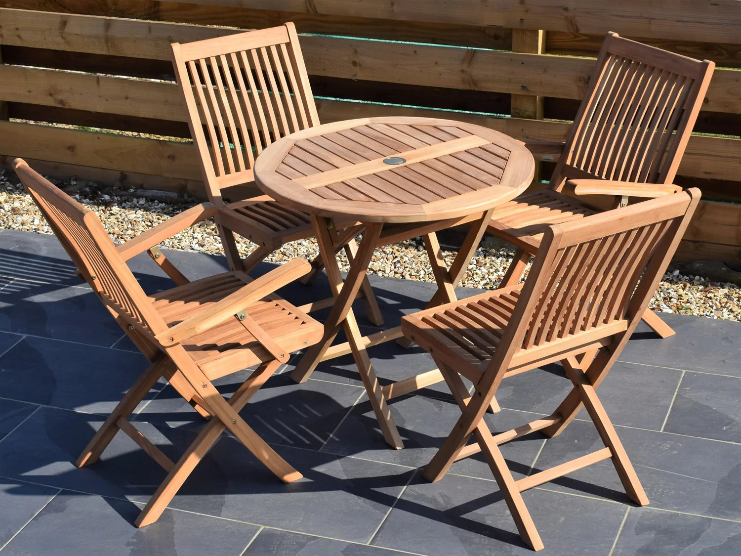 4 seater small round folding teak set with folding chairs armchairs