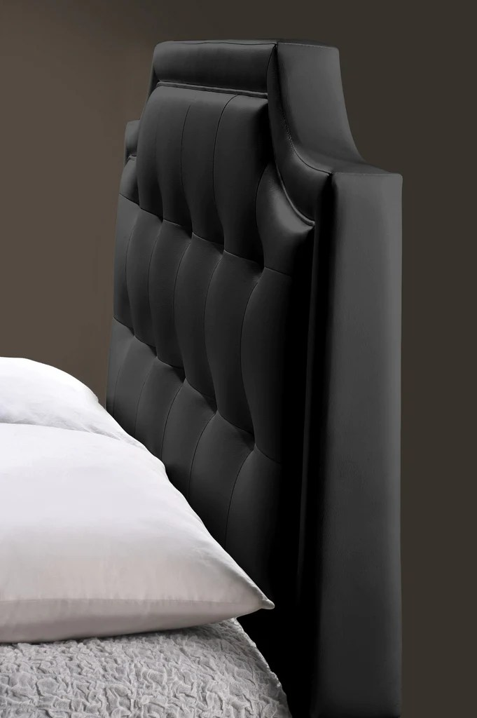 Carlotta Black Modern Bed With Upholstered Headboard Queen Size English Elm