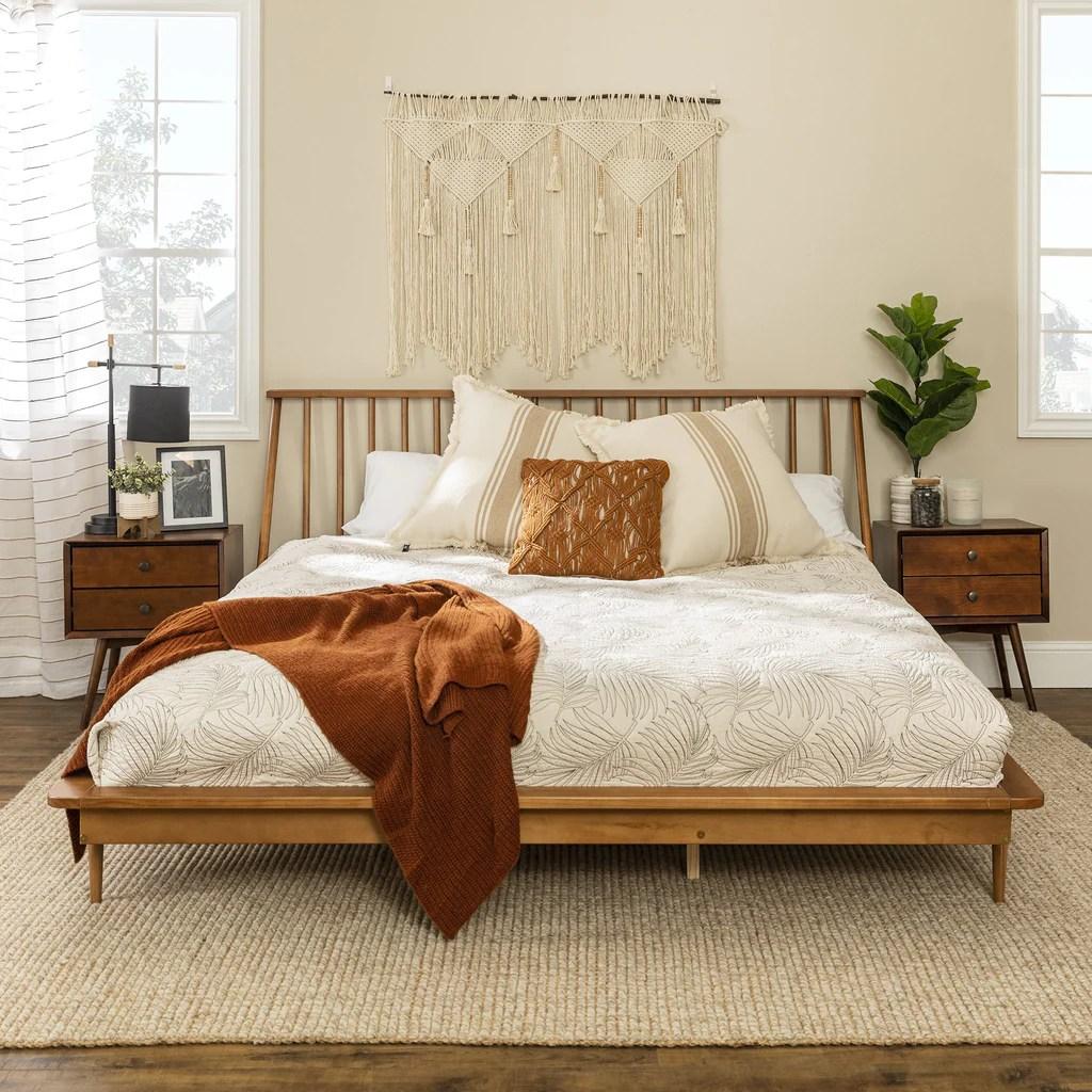King Mid Century Modern Solid Wood Spindle Platform Bed English Elm