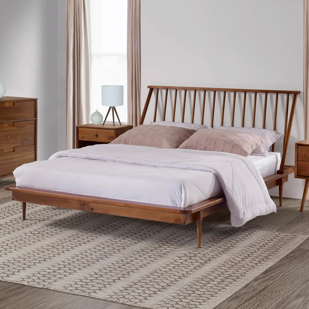 Modern Queen Spindle Bed English Elm