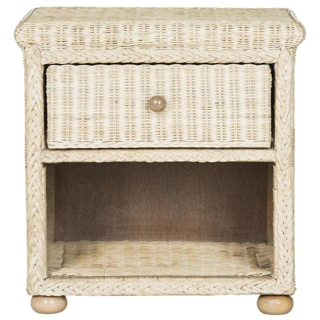 adira nightstand wicker with drawer and 8 h storage natural white wash rattan nc coating