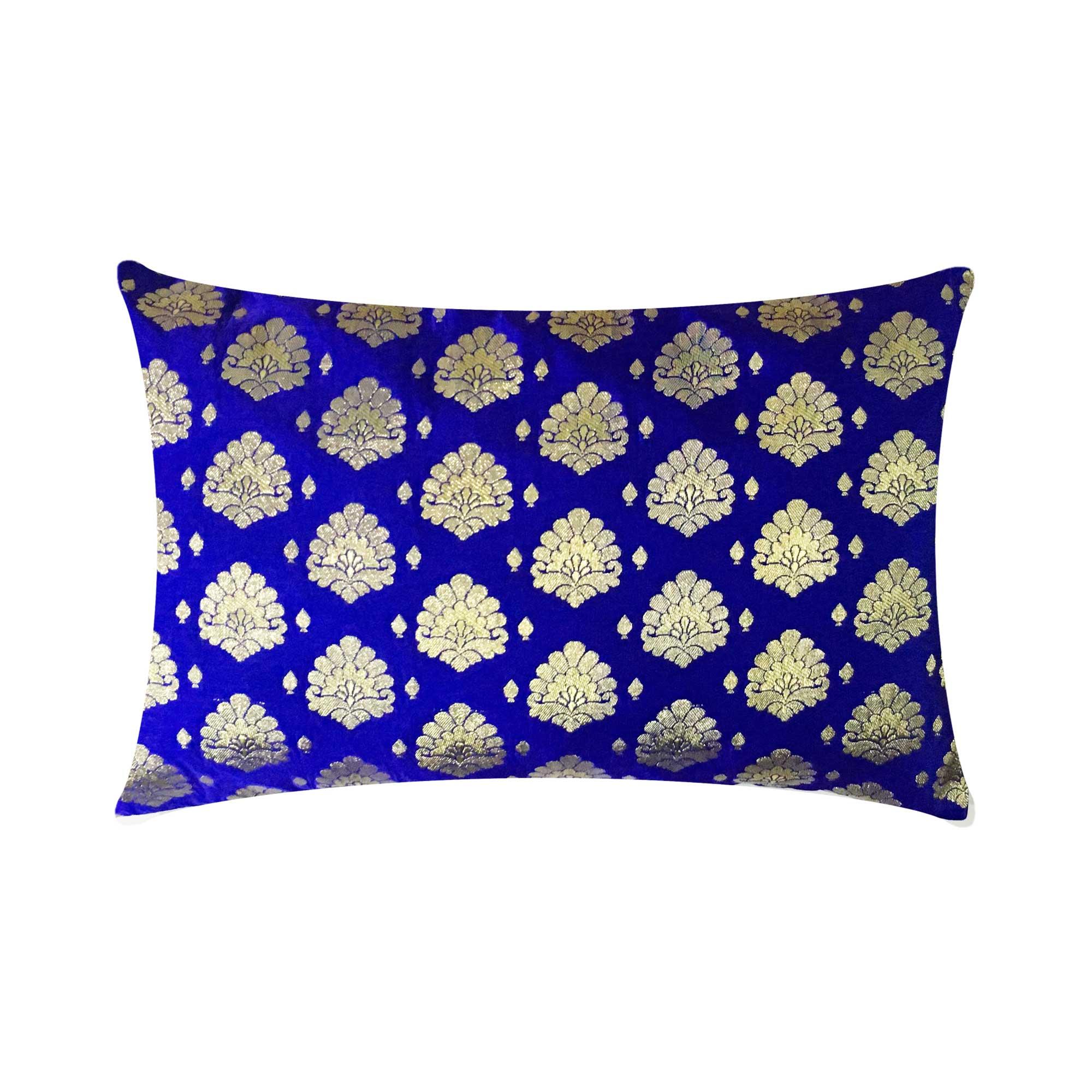 royal blue and gold sari silk pillow