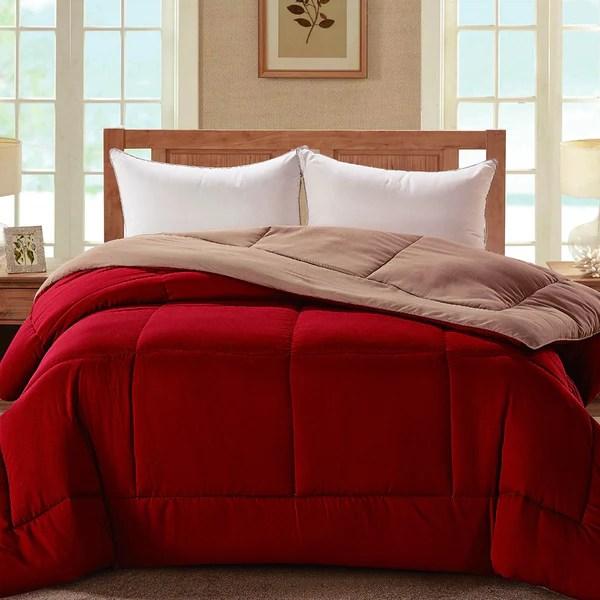 madison down alternative reversible comforter red tan