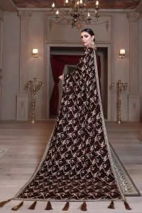 Emaan Adeel Brown Velvet Luxury Velvet Shawl