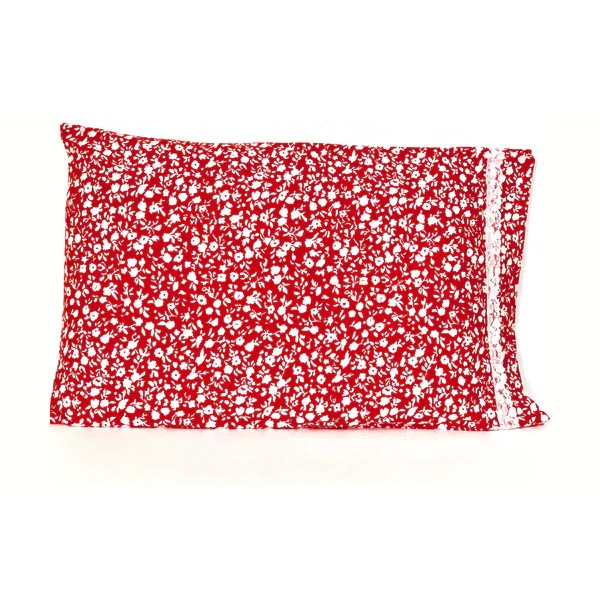 red white flowers 20x30 pillowcase set
