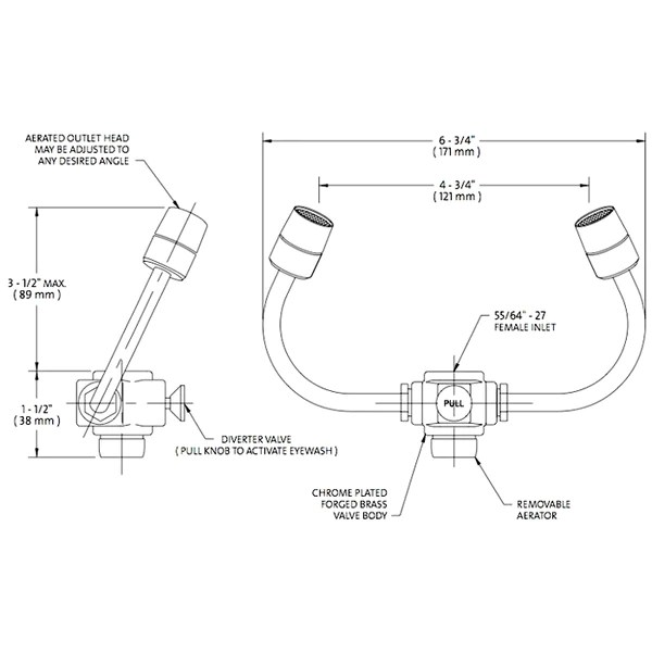 guardian g1101 eyesafe x faucet mounted personal eyewash station