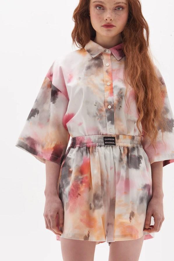 Organic Cotton Tie Dye Shorts Damson Madder