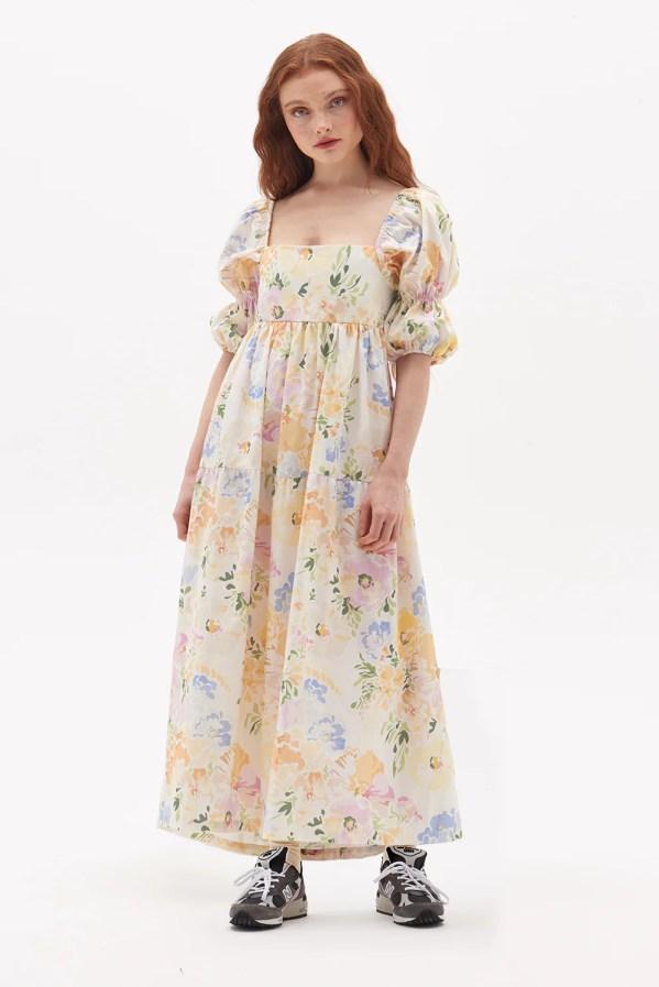 Organic Floral Bow Back Dress Damson Madder