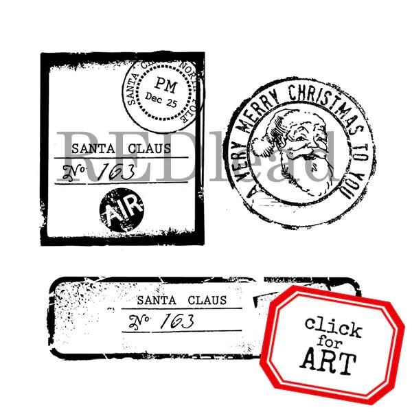 Santa Postage Christmas Rubber Stamp