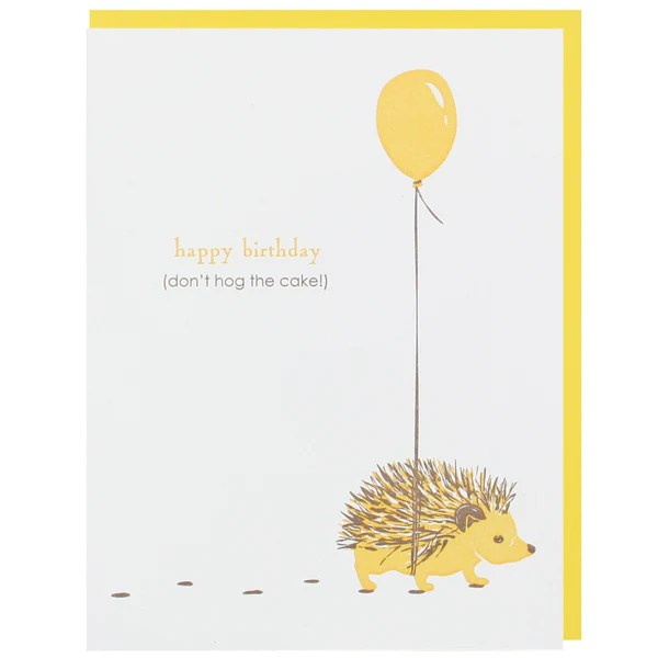Hedgehog With Balloon Birthday Card Happy Birthday Cards Smudge Ink