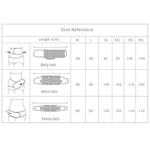 3 in 1 Belly abdomen pelvis postpartum belt, SIZE TABLE – DAILY DEAL ME