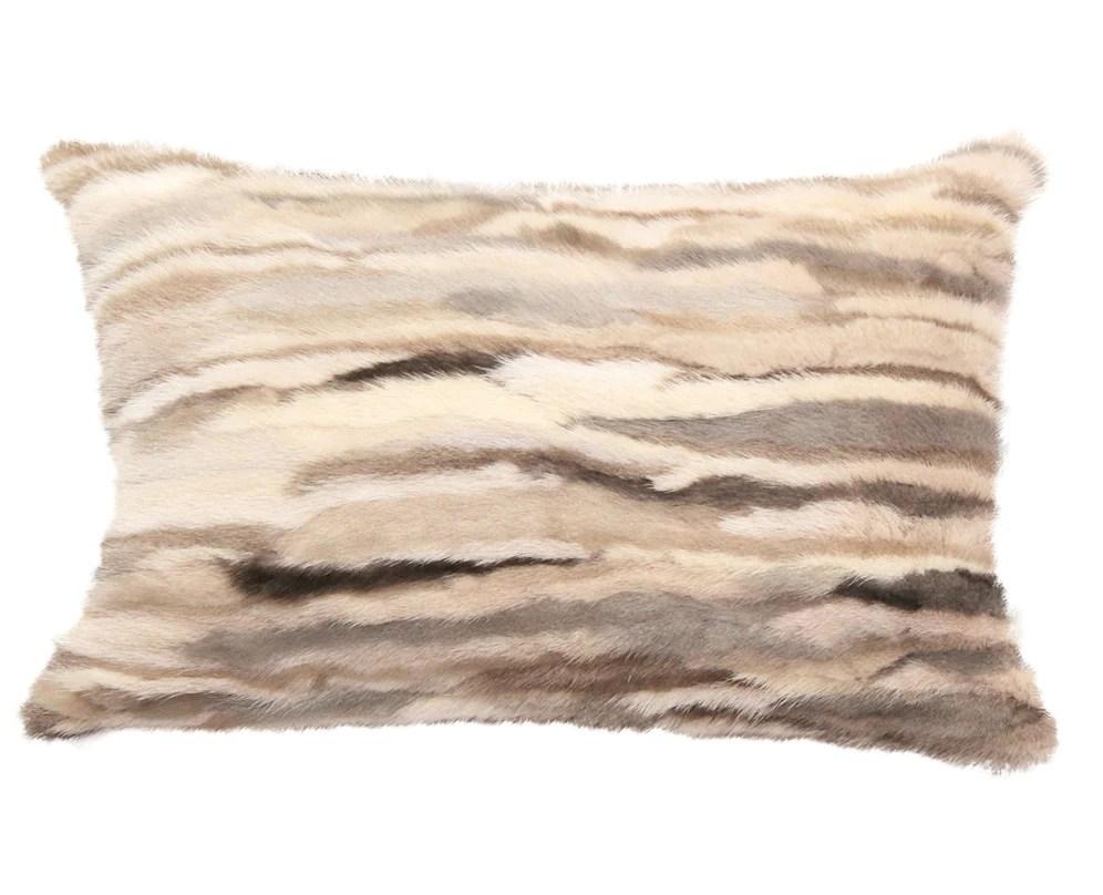 venezia fur pillow beige brown