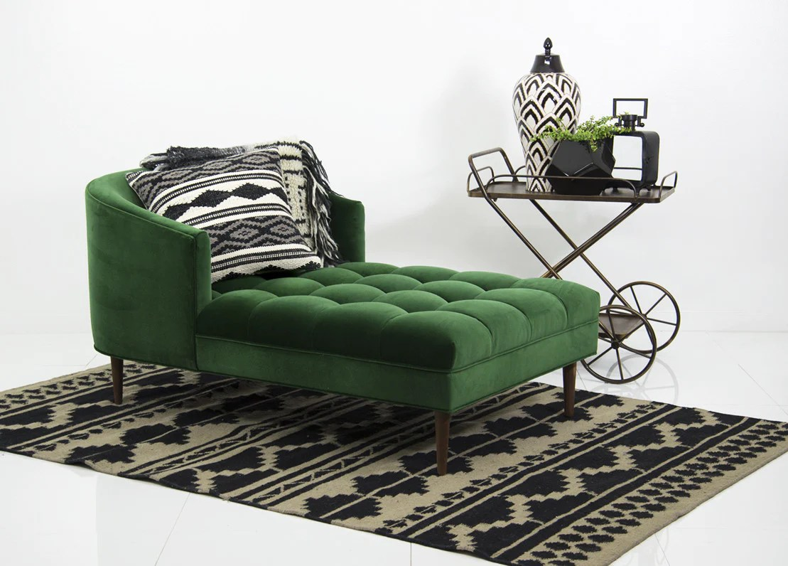 st barts chaise lounge in emerald velvet