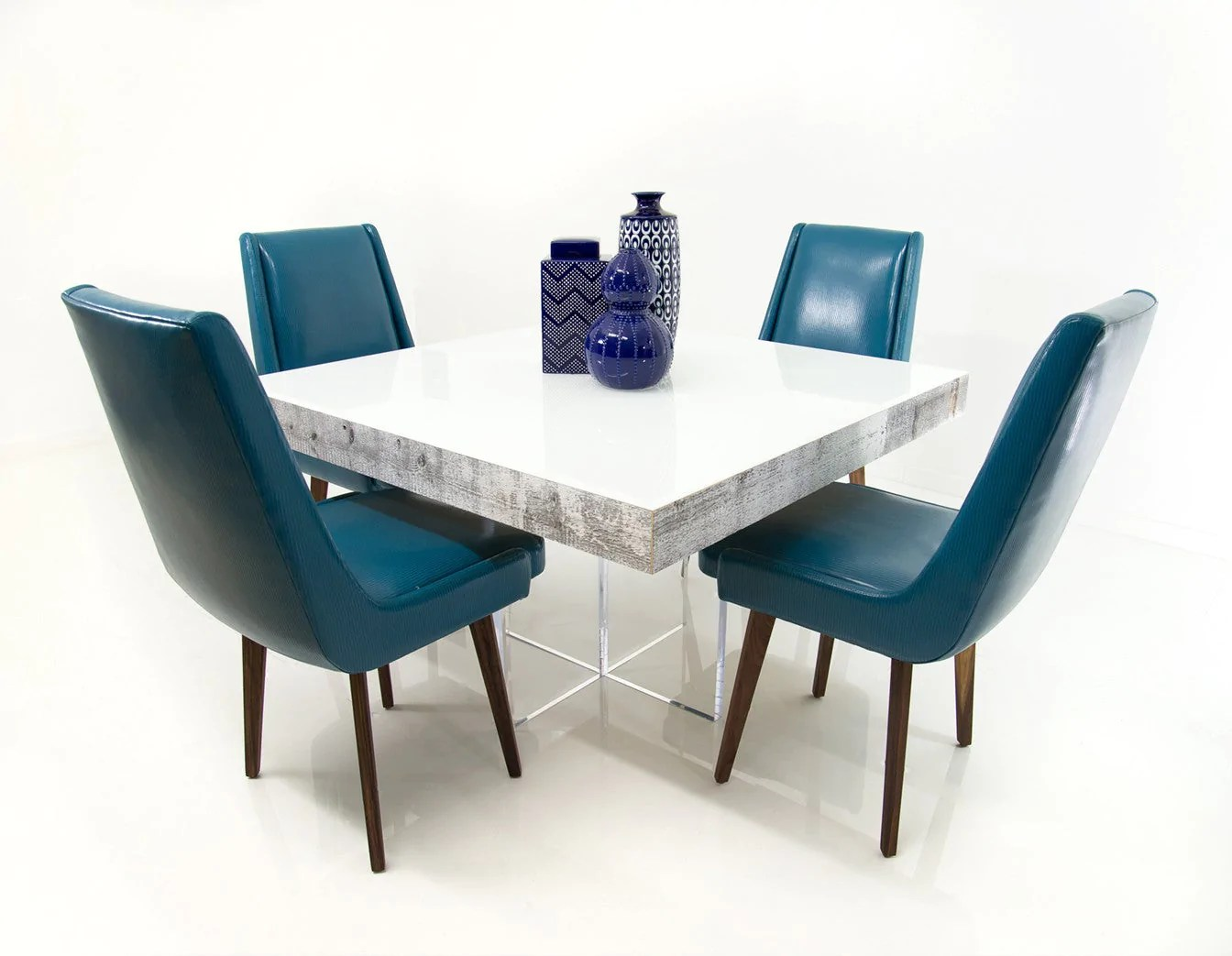 Modern Square Dining Table In White Recycled Wood