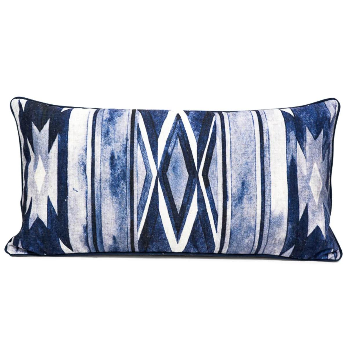 southwest lumbar pillow in navy blue