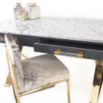 Cape Town Marble Top Desk With Drawers Modshop