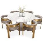 Ubud Marble Top Dining Table Round Modshop