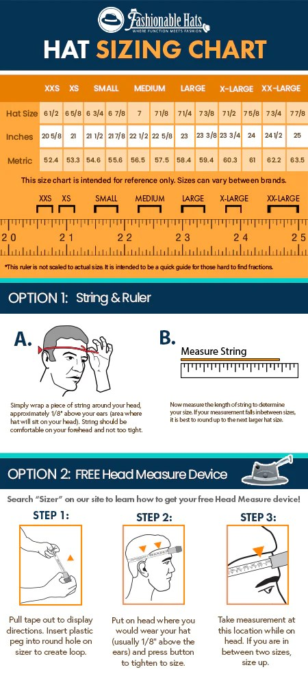 Hat Size Chart How To Measure Hat Size Fashionable Hats