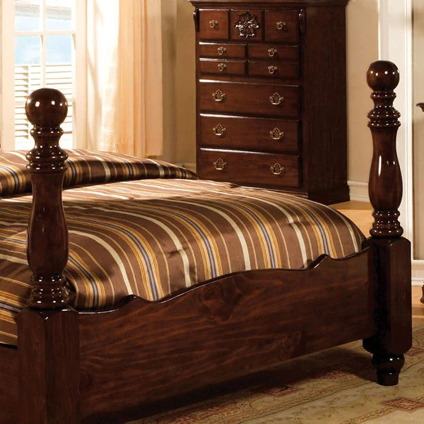 Tuscan Colonial Style Dark Pine 6 Piece Bedroom Set 247