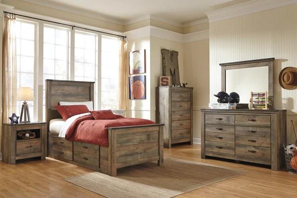 trinell panel bed w storage bedroom set