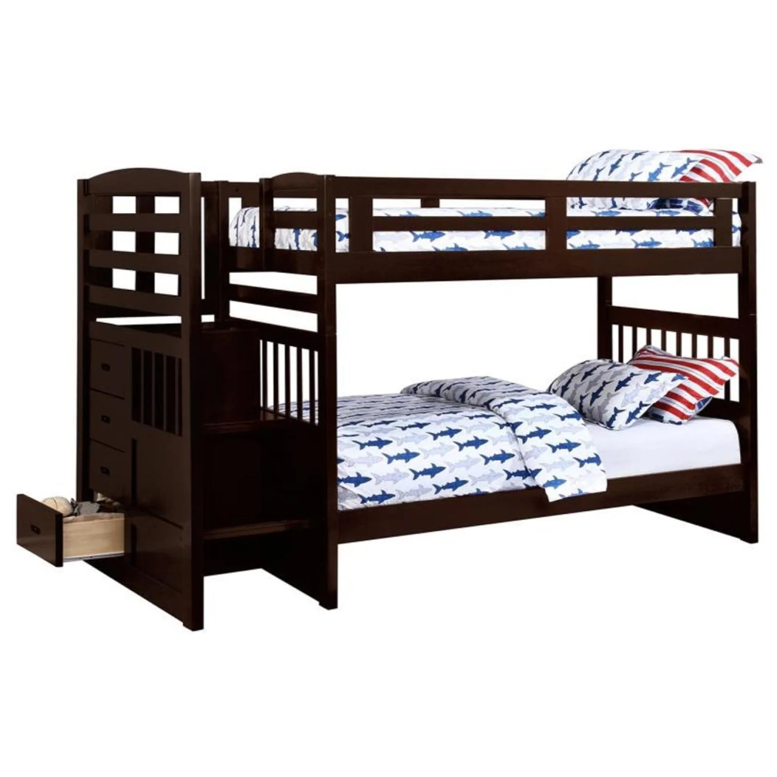 Dublin Twin Twin Bunk Bed With Staircase Adams Furniture