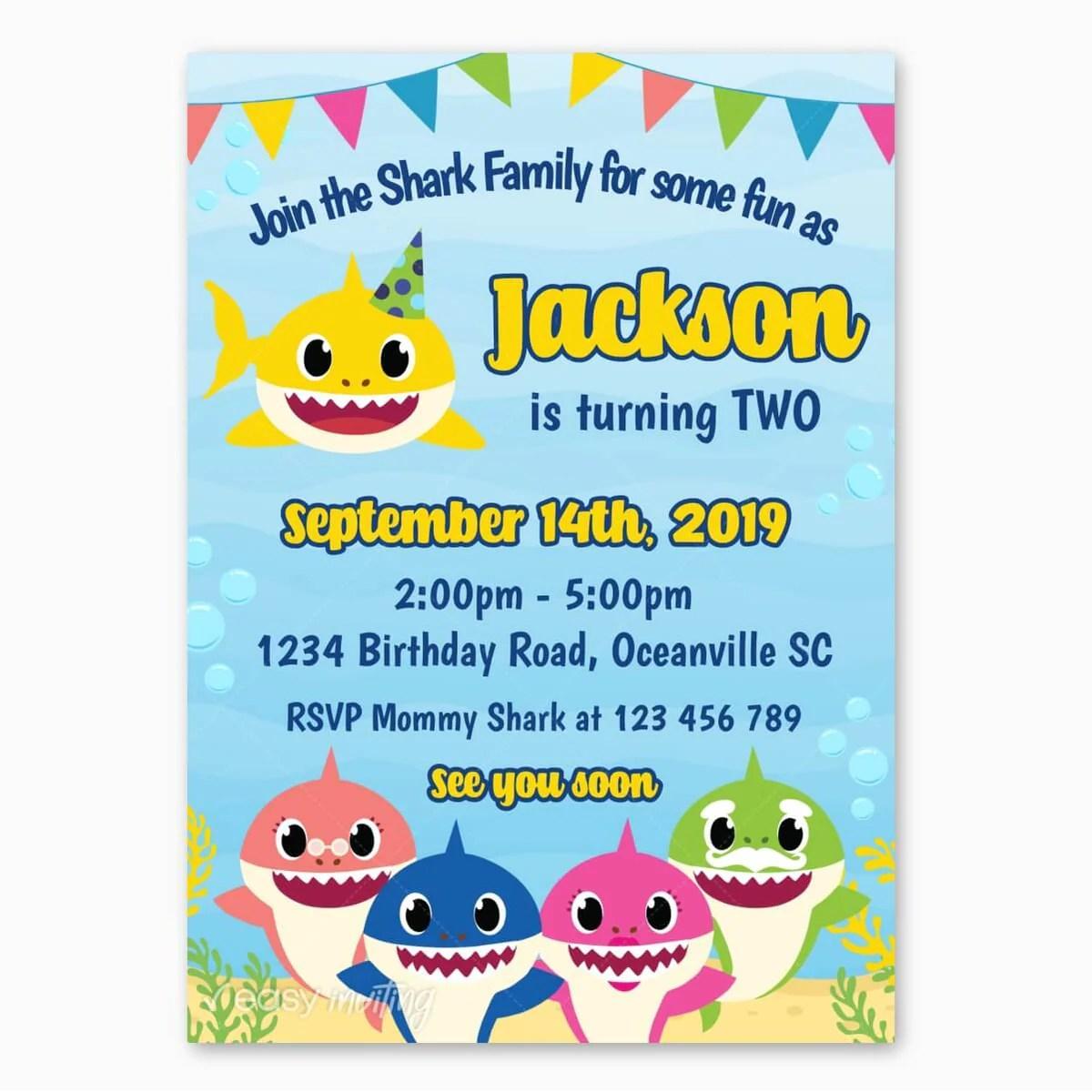 Baby Shark Birthday Invitation Easy Inviting