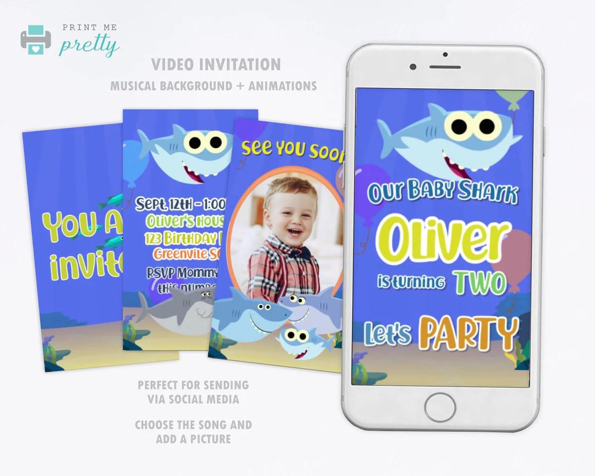Baby Shark Birthday Invitation Video Animated Card Easy Inviting