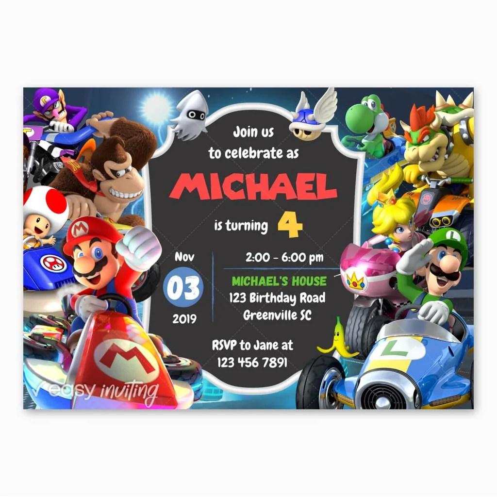 Mario Kart Birthday Invitation Easy Inviting