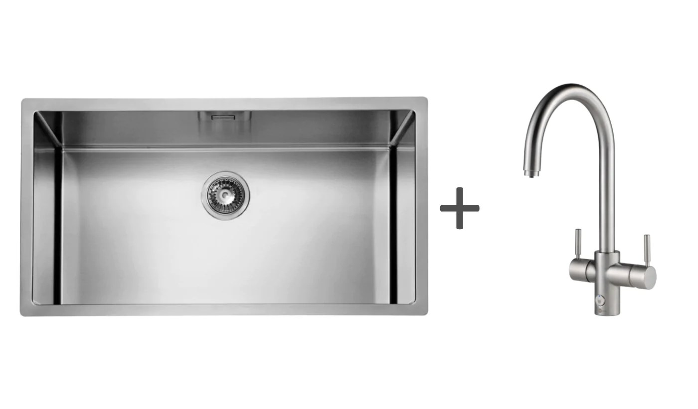 pack of insinkerator 4n1 touch j tap alveus kitchen sink brushed steel finish