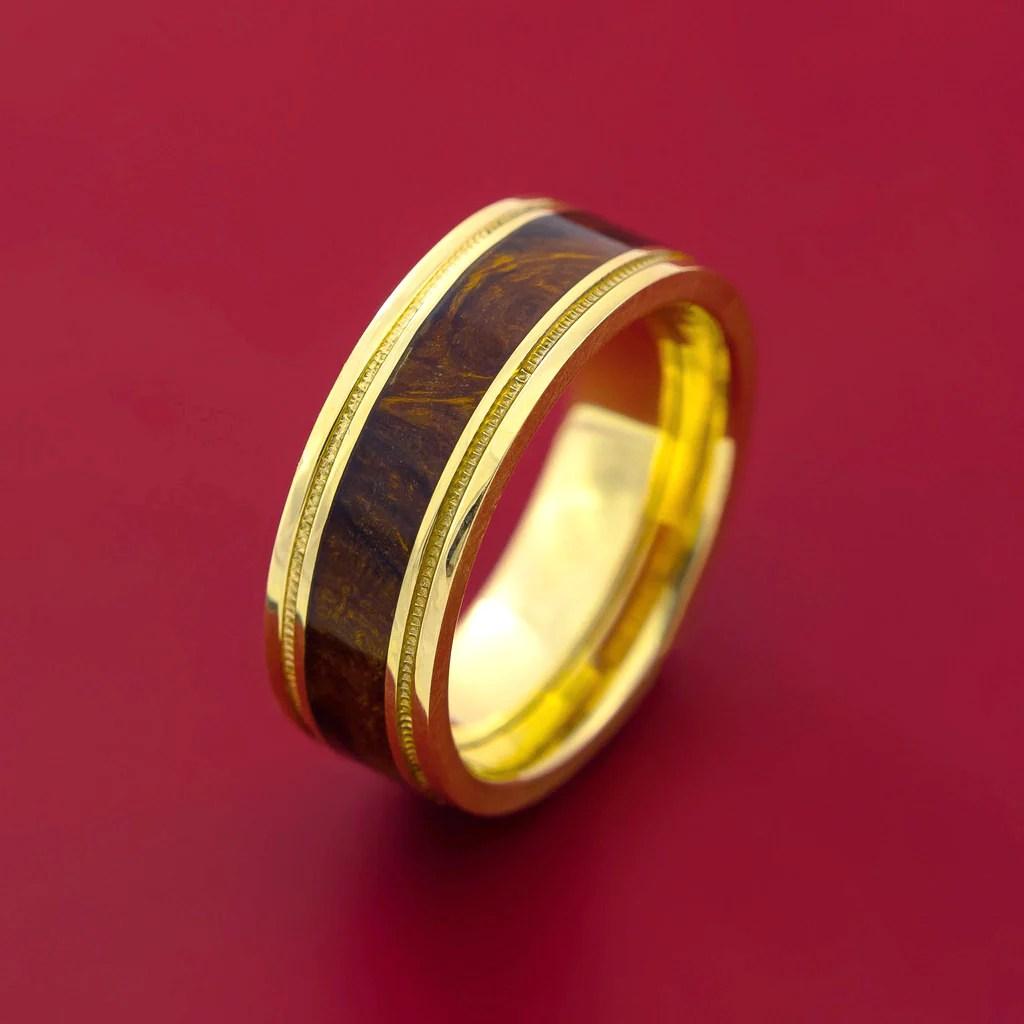 Wood Ring DESERT IRONWOOD BURL HARD WOOD In 14K Yellow