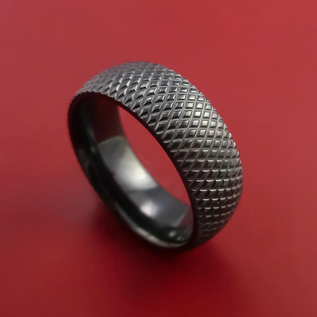 Black Zirconium Wide Ring Textured Knurl Pattern Hockey