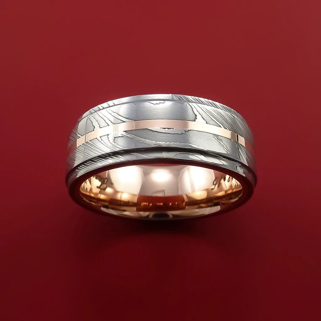 Damascus Steel 14K Rose Gold Ring With Gold Sleeve Wedding