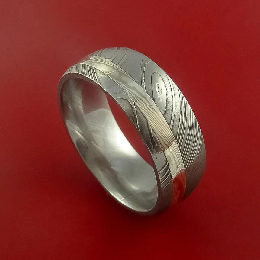 Damascus Steel With Palladium And Silver Mokume Gane Ring