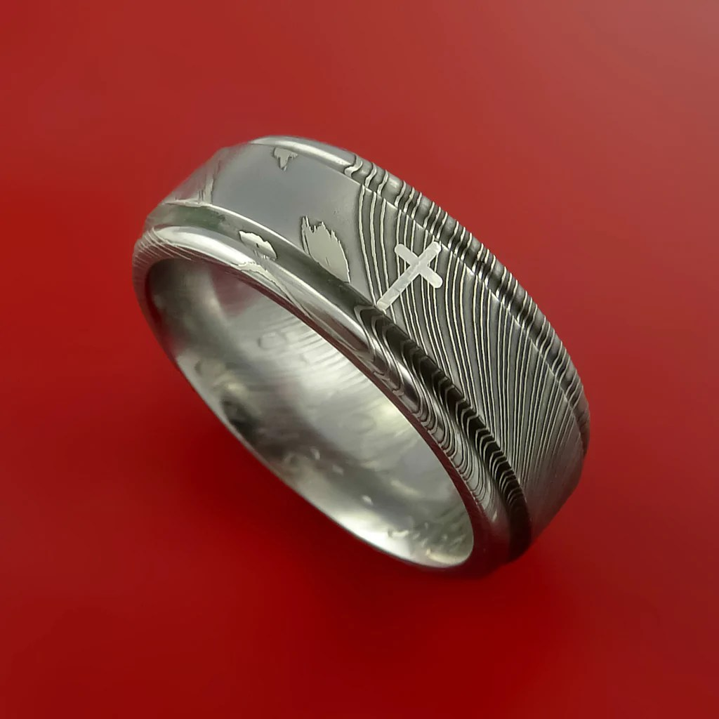 Damascus Steel CHRISTIAN Ring And Palladium Inlay Wedding