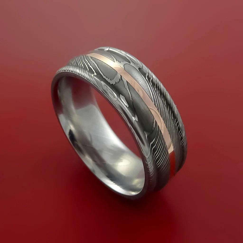 Damascus Steel 14K Rose Gold Ring Wedding Band